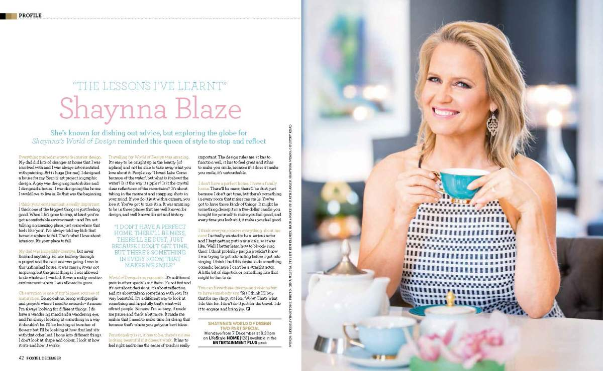 The Lessons I've Learnt: Shaynna Blaze (Foxtel, December 2015)