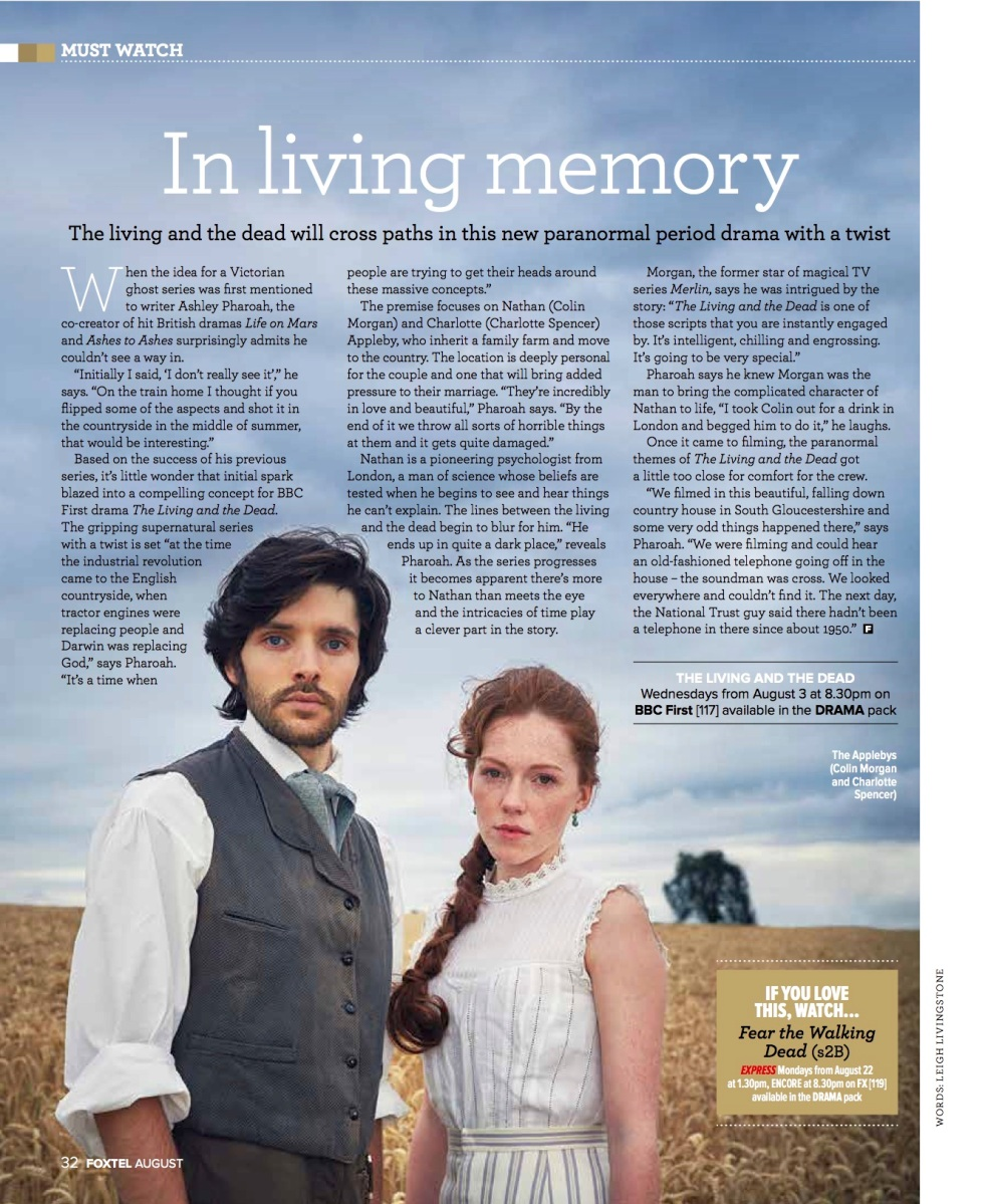 The Living and the Dead: Ashley Pharoah (Foxtel magazine)