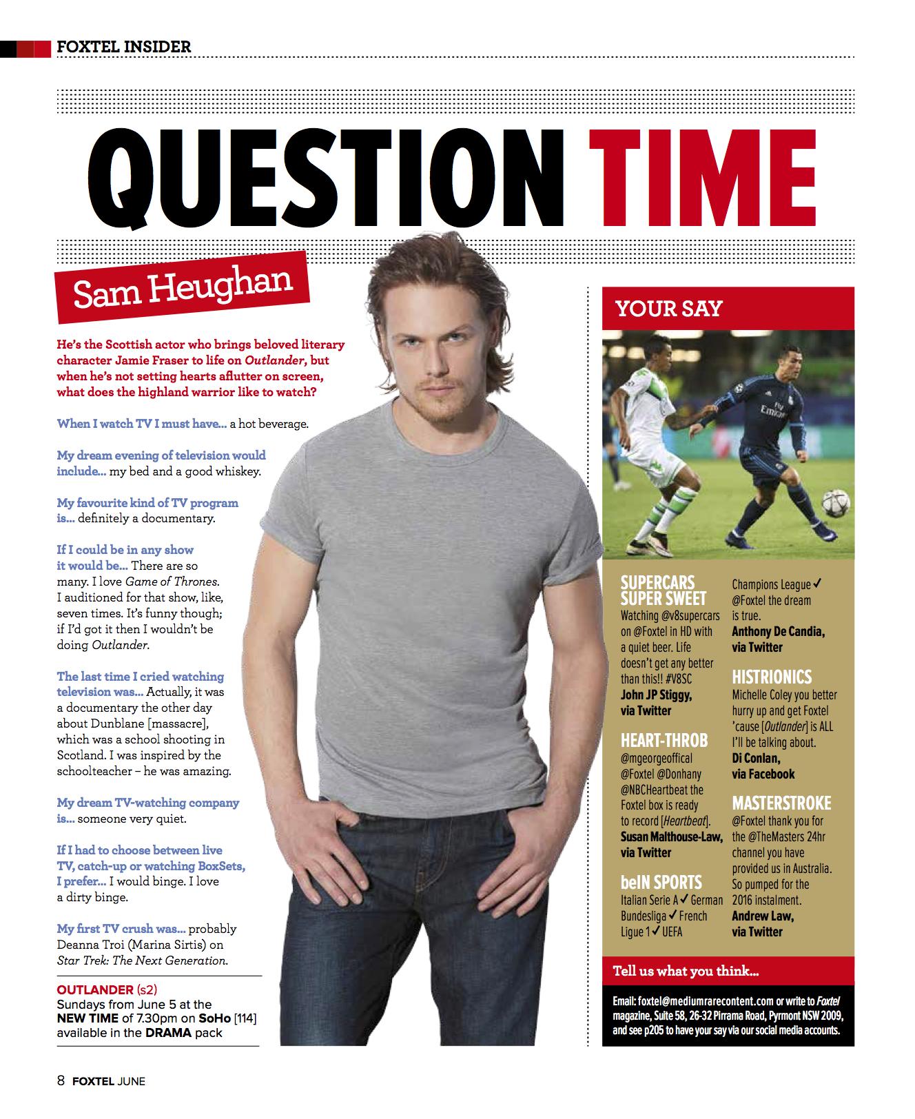 Sam Heughan (Foxtel magazine)