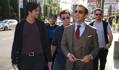 Adrian Grenier, Jerry Ferrara, Kevin Connolly, Jeremy Piven and Kevin Dillon in Entourage. Image courtesy of Warner Bros. Entertainment.