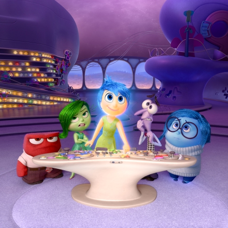 Anger, Disgust, Joy, Fear and Sadness in Disney Pixar's Inside Out.