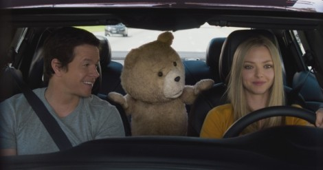 Mark Wahlberg, Ted (Seth MacFarlane) and Amanda Seyfried in Ted 2.