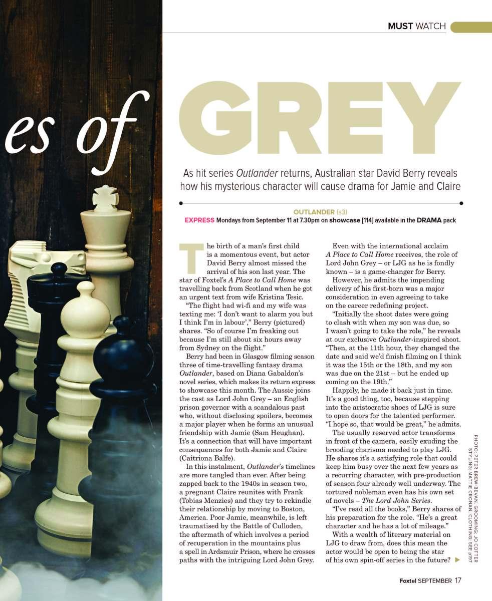 David Berry: Outlander (Foxtel magazine)