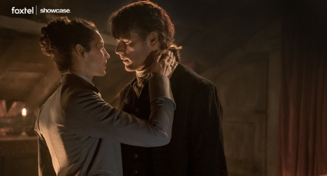 Claire (Caitriona Balfe) and Jamie (Sam Heughan) reunited in Outlander